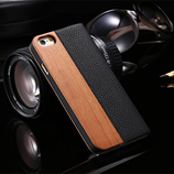 Floveme Bamboo Natural Wood Flip Leather iPhone Wallet Cover